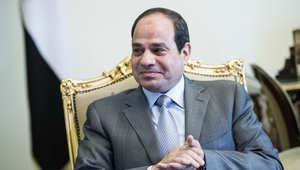 الرئيس المصري عبدالفتاح السيسي ينتظر لقاء مع وزير الخارجية الامريكي جون كيري في القصر الرئاسي في القاهرة