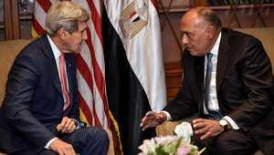 وزير الخارجية الأمريكي جون كيري خلال اجتماعه في القاهرة مع وزير الخارجية المصري سامح شكري، 13 سبتمبر/ أيلول 2014