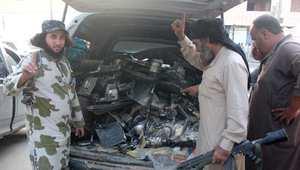 عناصر من مقاتلي داعش في مدينة الرقة السورية