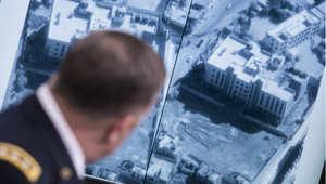 الجنرال وليام مايفيل مدير العمليات يعرض صورة خلال حديثه عن الغارات الجوية في سوريا 23 سبتمبر/ أيلول 2014