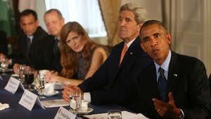 أوباما وكبار مستشاريه يلتقي مع ممثلين عن خمس دول عربية بالإضافة إلى العراق والذين شاركوا في غارات جوية ضد داعش في سوريا
