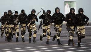 عناصر من وحدات الشرطة الخاصة السعودية خلال عمليات التدريب سبتمبر/ ايلول 2014