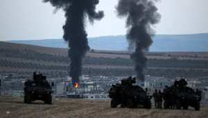 غارات على كوباني كما بدت من داخل الحدود التركية 27 اكتوبر/ تشرين الأول 2014