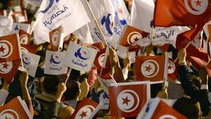 أنصار حركة النهضة قبل خطاب لزعيك الحركة خلال الانتخابات التشريعية في أكتوبر 2014