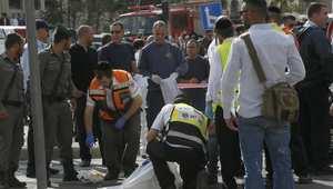 الشرطة الاسرائيلية تحقق في حادث دهس بالقدس حيث أقدم سائق فلسطيني على اقتحام حشد بسيارته ما اسفر عن مقتل 9 أشخاص، 5 نوفمبر/ تشرين الثاني 2014