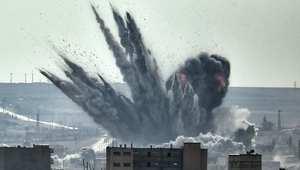 انفجار قذيفة في كوباني شمال سوريا قرب الحدود مع تركيا 13 نوفمبر/ تشرين الثاني 2014