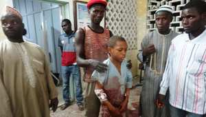 طفل مصاب جراء التفجيرات الانتحارية التي استهدفت مسجدا في كانو ثاني أكبر المدن في شمال نيجيريا 28 نوفمبر/ تشرين الثاني 2014