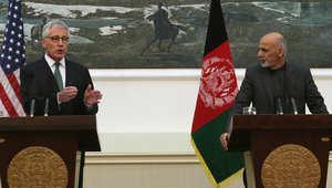 وزير الدفاع الأمريكي تشاك هاغل، في مؤتمر صحفي مشترك مع الرئيس الأفغاني أشرف غني، كابول 6 ديسمبر/ كانون الأول 2014