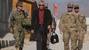 وزير الدفاع الأمريكي تشاك هاغل مع مجموعة من الجنود في آخر زيارة له لأفغانستان 7 ديسمبر/ كانون الأول 2014