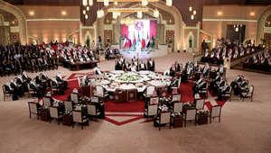 قاعة اجتماع القمة الخليجية الخامسة والثلاثين في الدوحة 9 ديسمبر/ كانون الأول 2014