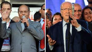 الباجي قائد السبسي والمنصف المرزوقي يتحدثان في حملتهما الانتخابية 18 ديسمبر/ كانون الاول 2014