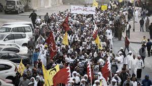 مظاهرة في البحرين ترفع شعار إسقاط النظام وتطالب بالإفراج عن الشيخ علي سلمان رئيس جمعية الوفاق 9 يناير/ كانون الثاني 2015