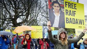 مظاهرة نظمتها أمنستي أمام السفارة السعودية في لاهاي للمطالبة بالافراج الفوري عن رائف بدوي 15 يناير/ كانون الثاني 2015