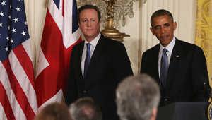 الرئيس الأمريكي باراك أوباما، ورئيس الوزراء البريطاني ديفيد كاميرون في مؤتمر صحفي في البيت الأبيض 16 يناير/ كانون الثاني 2015