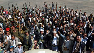 أنصار عبد الملك الحوثي في مسيرة بالعاصمة اليمنية صنعاء، 4 فبراير/ شباط 2015