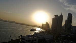غروب  الشمس في العاصمة القطرية الدوحة