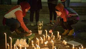 نصب تذكاري مؤقت بعد الوقفة الاحتجاجية في جامعة كارولاينا الشمالية