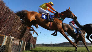 بالصور..سباق الخيول بين الغيوم الملبدة والشمس الذهبية في إنجلترا