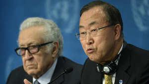 الأمين العام للأمم المتحدة، بان كي مون والمبعوث الأممي لسوريا، الأخضر الإبراهيمي