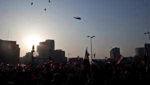 مصريون في ميدان التحرير في القاهرة خلال تجمع حاشد بمناسبة ذكرى ثورة 25 يناير