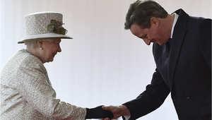 رئيس الوزار البريطاني ديفيد كاميرون في لقاء مع الملكة اليزابيث الثانية في 3 مارس/ آذار 2015