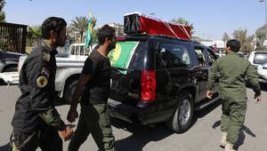 تشييع جنازة سعيد الموسوي ، قائد كتيبة الإمام علي الذي قتل في ضدامات مع داعش في تكريت 14 مارس/ آذار 2015