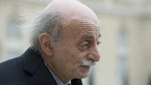 الزعيم الدرزي اللبناني وليد جنبلاط يغادر بعد لقاء مع الرئيس الفرنسي فرانسوا هولاند في قصر الاليزيه
