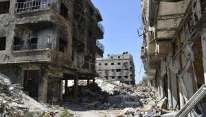 صورة للدمار في مخيم اليرموك بضواحي دمشق، بعد المعارك التي شنها مقاتلوا داعش للسيطرة على الخيم، 6 أبريل/ نيسان 2015
