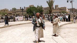 أنصار الحوثي في تظاهرة تأييد، صنعاء 6 أبريل/ نيسان 2015
