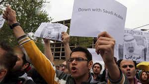 من تظاهرة إيرانية أمام السفارة السعودية بطهران
