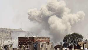 غارة جوية على معسكر يقع الى الشمال من العاصمة اليمنية صنعاء، 17 أبريل/ نيسان 2015