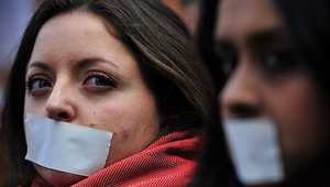 متظاهرات أمام السفارة المصرية في لندن للمطالبة بالافراج عن الصحفيين المعتقلين في مصر، 19 فبراير/ شباط 2014