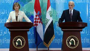 وزير الخارجية العراقي إبراهيم الجعفري في مؤتمر صحفي مشترك مع نظيرته الكرواتية فينسا بوسيتش، بغداد 3 مايو/ أيار 2015