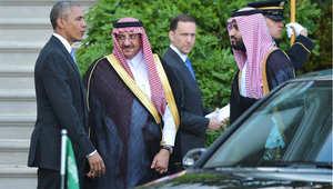 الرئيس الأمريكي باراك أوباما يستقبل ولي العهد السعودي محمد بن نايف، وولي ولي العهد محمد بن سلمان، واشنطن 13 مايو/ أيار 2015