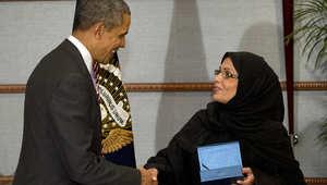 الرئيس الأمريكي باراك أوباما يستقبل الدكتورة مها المنيف، المؤسسة والمديرة التنفيذية لبرنامج أمن الأسرة الوطني، الرياض 29 مارس/ آذار 2014