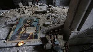 كنيسة مدمرة في حي الحميدية بحمص القديمة
