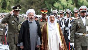 أمير الكويت  الشيخ صباح الأحمد الجابر الصباح مع الرئيس الإيراني حسن روحاني خلال زيارته لإيران