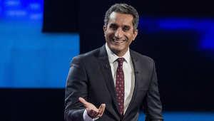 """باسم يوسف يجيب على أسئلة الصحفيين خلال مؤتمر صحفي للإعلان عن نهاية برنامجه التلفزيوني """"البرنامج"""""""