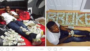 """صور المغني """"50 Cent"""" يسبح بين الدولارات تقوده إلى قاعة المحكمة"""