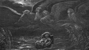 رسم يرمز للنبي موسى عندما وضعته والدته في نهر النيل