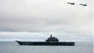 أرشيف - حاملة الطائرات الروسية أدميرال كوزيتسوف ضمن تدريبات لأسلطول الشمال 2005