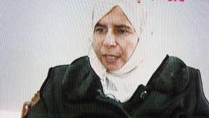 ساجدة الريشاوي عند ظهورها على التلفزيون الأردني في تسجيل اعترفت فيه بالتورط في تفجيرات عمان عام 2005