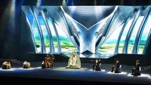 """أحد مشاهد مسرحية """"الفارس""""، وهي من إخراج مروان الرحباني."""