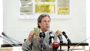 حاكم مصرف سورية المركزي أديب ميالة أثناء المؤتمر الصحفي
