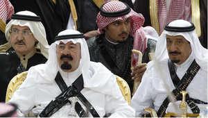 صورة تجمع بين الملك الراحل عبد الله بن عبد العزيز والملك الحالي سلمان بن عبد العزيز 18 مارس / آذار 2008