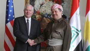 رئيس إقليم كردستان العراق، مسعود البرزاني مع وزير الدفاع الأمريكي روبرت غيتس في أربيل 11 ديسمبر/ كانون الأول 2009