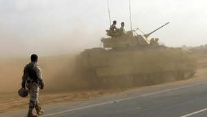 دبابة سعودية بعد انتهاء المعركة مع الحوثيين في الخوبة  27 يناير/ كانون الثاني 2010
