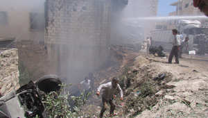 صورة ارشيفية بعد غارة جوية في إدلب