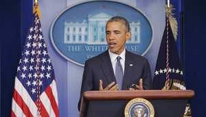 الرئيس الأمريكي خلال مؤتمره الصحفي بالبيت الأبيض