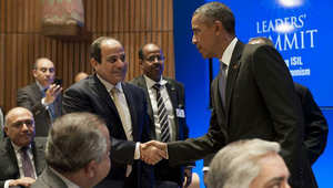 """هكذا صافح أوباما السيسي.. والسفارة الأمريكية بالقاهرة: """"يسعدنا رؤيتهم مجتمعين"""""""